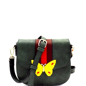 CTJY0031 Butterfly Charm Color Block Striped Saddle Cross Body Olive