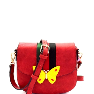 CTJY0031 Butterfly Charm Color Block Striped Saddle Cross Body Red
