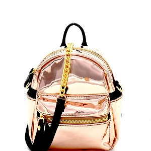 CTJY0034 Iridescent Metallic 2-Way Fanny Pack Cross Body Rose-Gold