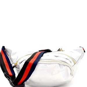 CTJY0041 Color Block Striped Strap Metallic Fashion Fanny Pack Hologram