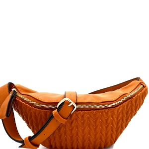 CTJY0044 Chevron Quilted Fashion Fanny Pack Brown
