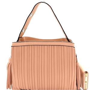 CTL0015W Tassel Accent Vertically Lined Compartment Satchel Wallet SET Blush