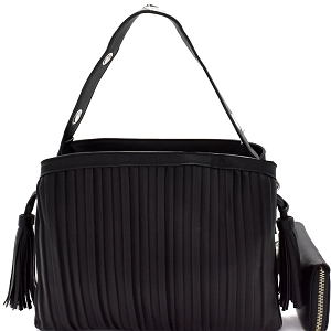 CTL0015W Tassel Accent Vertically Lined Compartment Satchel Wallet SET Black