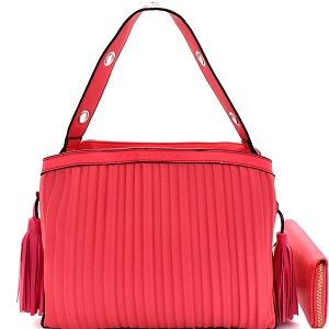 CTL0015W Tassel Accent Vertically Lined Compartment Satchel Wallet SET Watermelon
