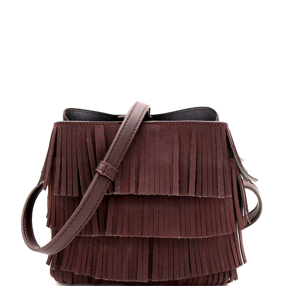 CTYI0008 4-Layer Fringed Bohemian Multi-Compartment Shoulder Bag Coffee