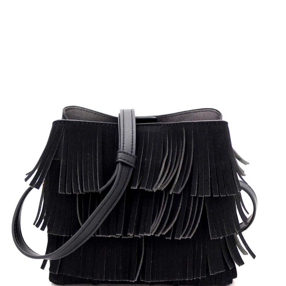 CTYI0008 4-Layer Fringed Bohemian Multi-Compartment Shoulder Bag Black