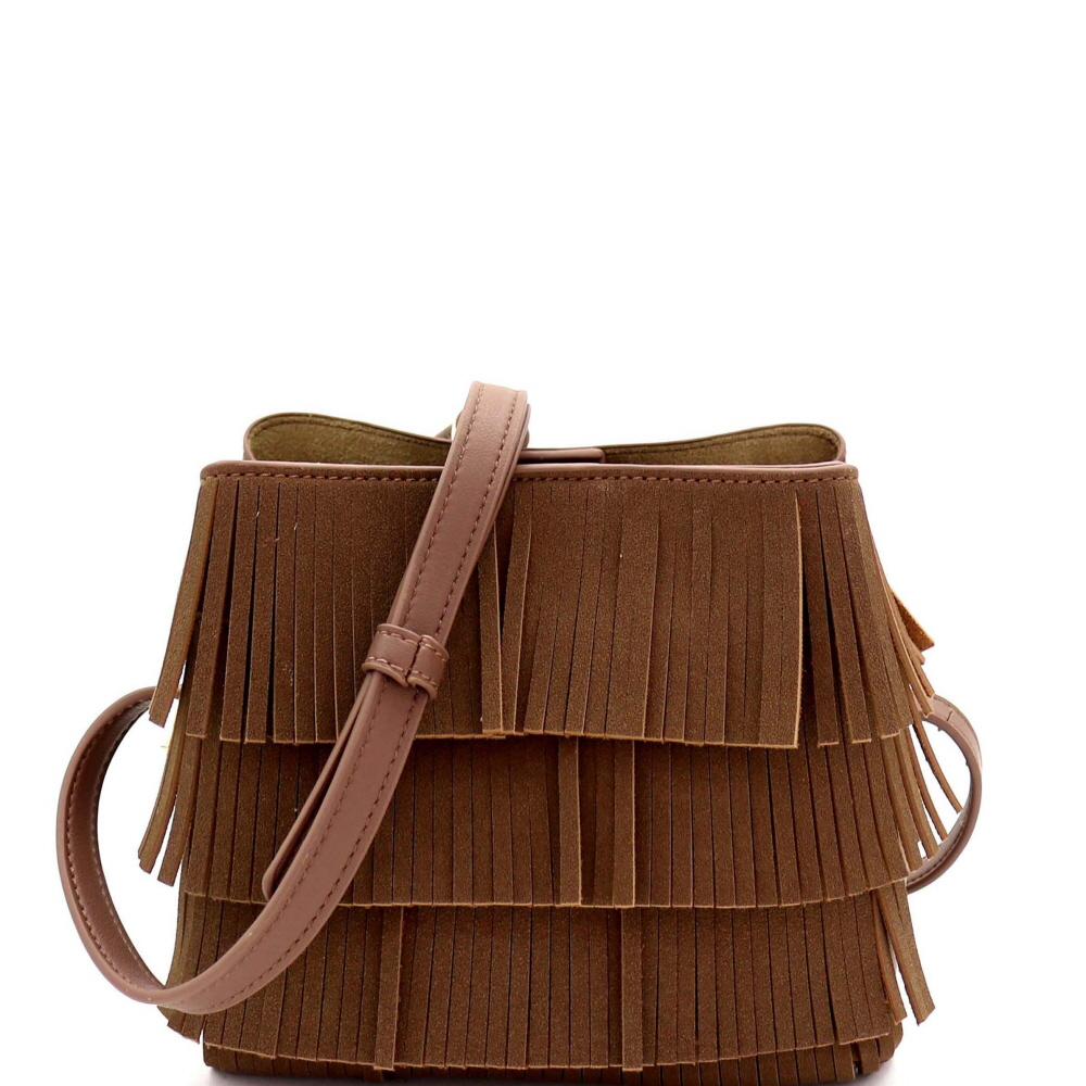 CTYI0008 4-Layer Fringed Bohemian Multi-Compartment Shoulder Bag Stone
