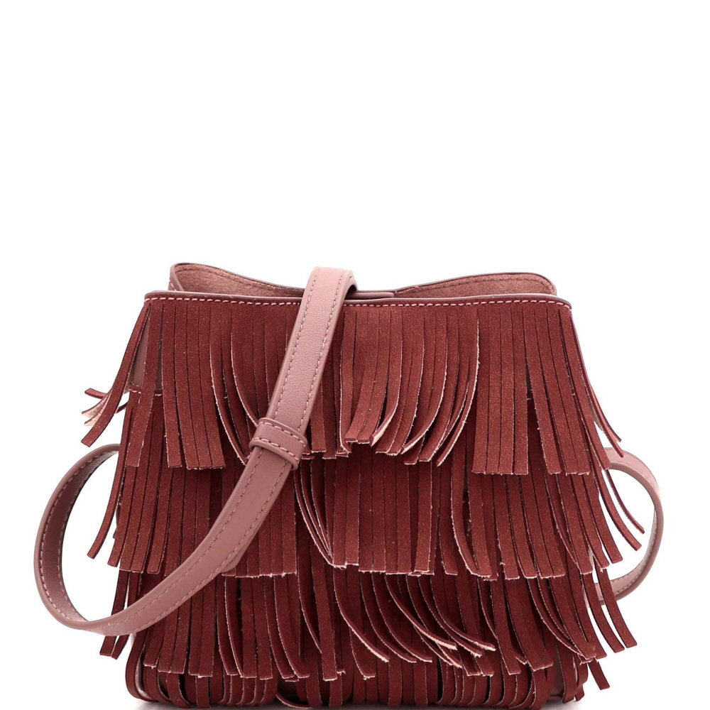 CTYI0008 4-Layer Fringed Bohemian Multi-Compartment Shoulder Bag Mauve