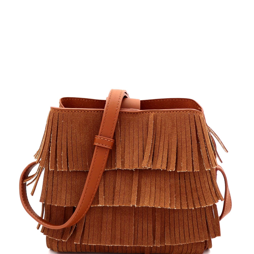 CTYI0008 4-Layer Fringed Bohemian Multi-Compartment Shoulder Bag Brown