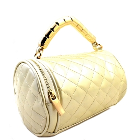 D0247 Metal-Ring Handle Quilted Patent Round Satchel Pearl