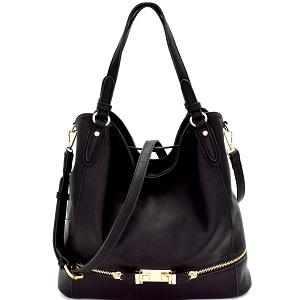 D0305-1 Zipper Hardware Accent 2-Way Hobo Black