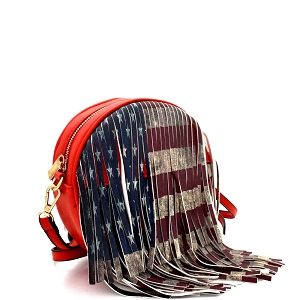 D0311 Vintage American Flag Print Western Fringed Round Cross Body Red