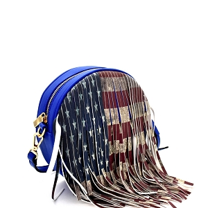 D0311 Vintage American Flag Print Western Fringed Round Cross Body Blue
