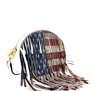 D0311 Vintage American Flag Print Western Fringed Round Cross Body White