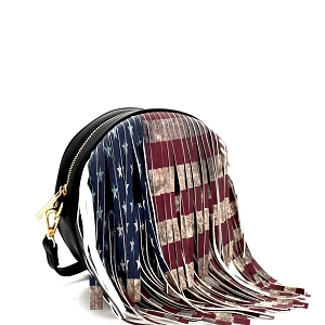 D0311 Vintage American Flag Print Western Fringed Round Cross Body Black
