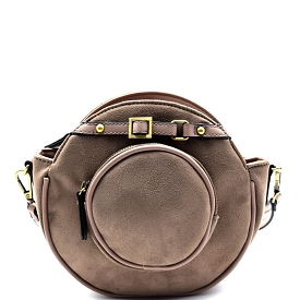 D0327 Belted-top Felt-sued Round Cross Body Stone