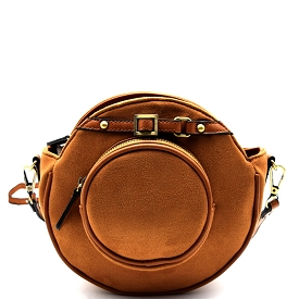 D0327 Belted-top Felt-sued Round Cross Body Tan