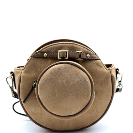 D0327 Belted-top Felt-sued Round Cross Body Taupe