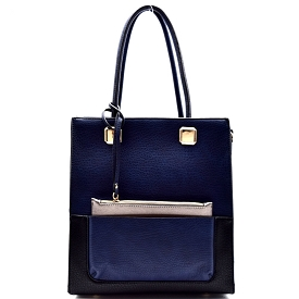 D0339 Color Block Tall 2 in 1 Tote with Leashed Pouch Blue
