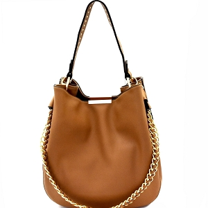 D0414 Studded Strap Chain Accent Hobo Dark-Stone