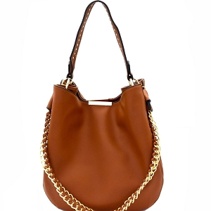 D0414 Studded Strap Chain Accent Hobo Dark-Brown