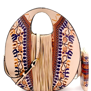 D0442W Ethnic Dashiki Print Fringed Round Satchel Wallet SET Taupe