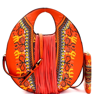 D0442W Ethnic Dashiki Print Fringed Round Satchel Wallet SET Orange