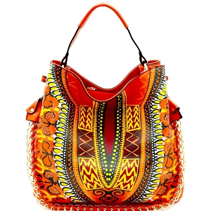 D0443 Dashiki Ethnic Print Chain Accent 2-Way Hobo Orange