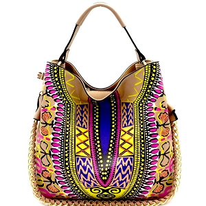 D0443 Dashiki Ethnic Print Chain Accent 2-Way Hobo Stone