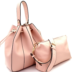 D0490 Stitch Accent 3 in 1 Drawstring Bucket Satchel Value SET Blush