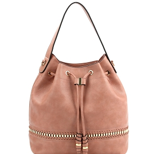 D0491 Whipstitch Accent Drawstring 2-Way Bucket Hobo Blush