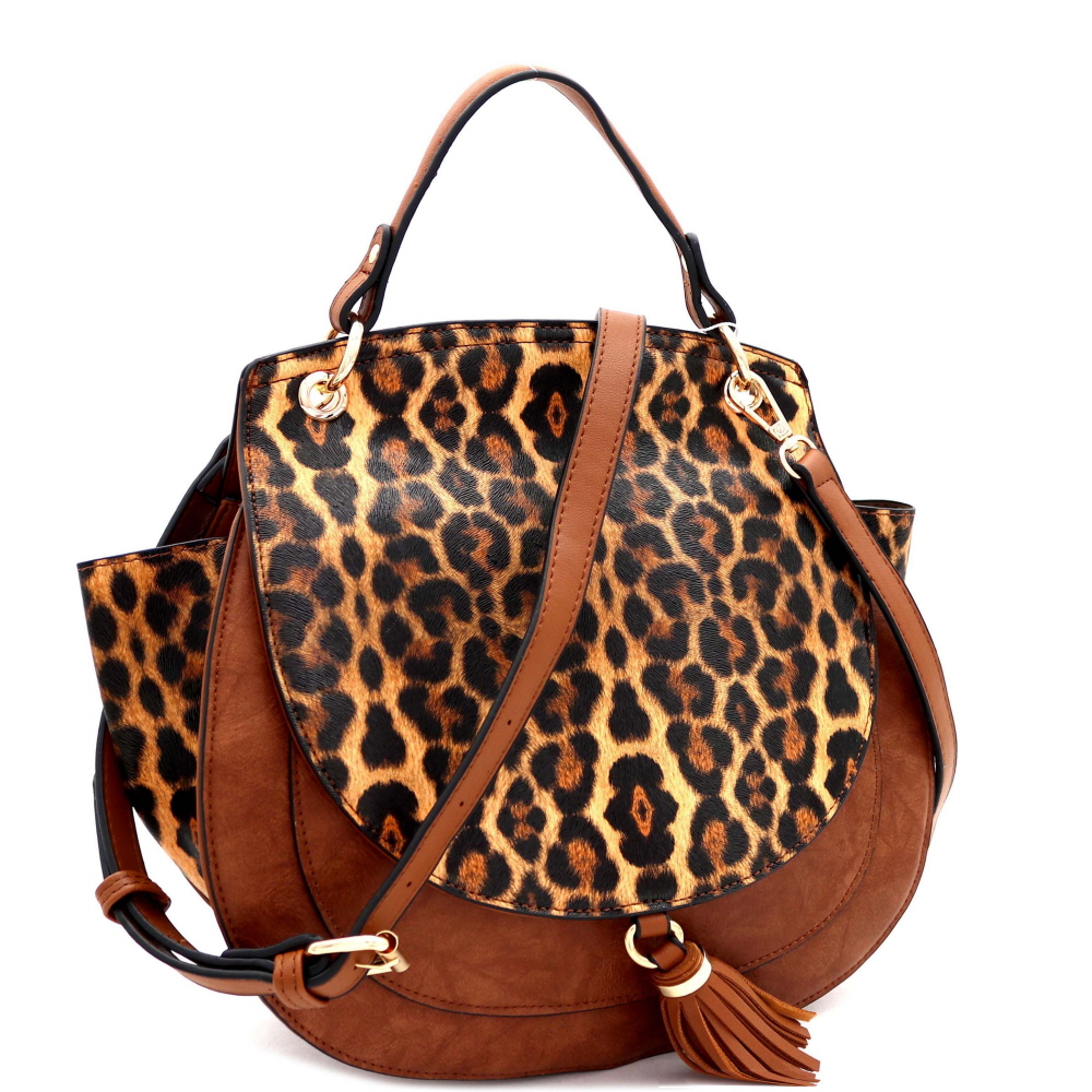 D0523 Tassel Accent Leopard Print Round Flap Wing Satchel Brown