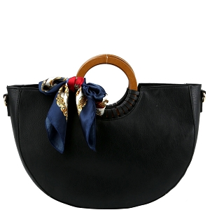 D0592 Scarf Accent Wooden Handle Half-Moon 2-Way Satchel Black