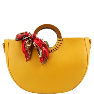 D0592 Scarf Accent Wooden Handle Half-Moon 2-Way Satchel Mustard