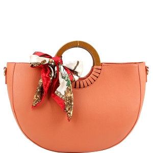 D0592 Scarf Accent Wooden Handle Half-Moon 2-Way Satchel Rust