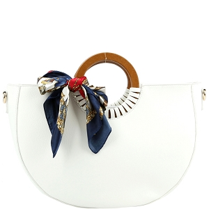 D0592 Scarf Accent Wooden Handle Half-Moon 2-Way Satchel White