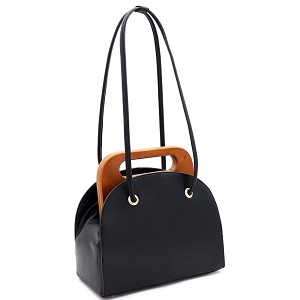 D0613 Wooden Top Handle Accent Structured Boxy Tote Bag Black