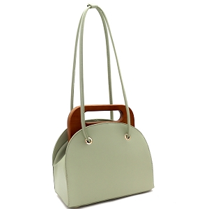 D0613 Wooden Top Handle Accent Structured Boxy Tote Bag Mint