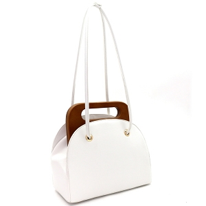 D0613 Wooden Top Handle Accent Structured Boxy Tote Bag White