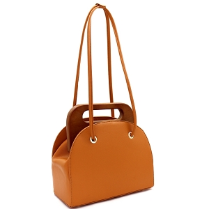 D0613 Wooden Top Handle Accent Structured Boxy Tote Bag Cognac