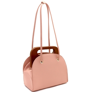 D0613 Wooden Top Handle Accent Structured Boxy Tote Bag Blush