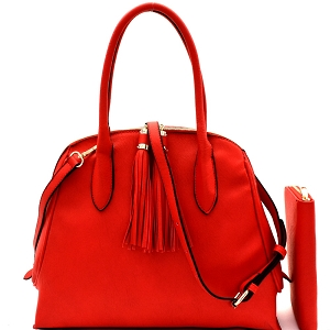 DX0052W Tassel Accent Dome Satchel Wallet SET Red