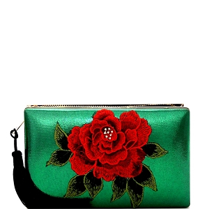 EVXZ0005 Thread Tassel Flower Patch Zip-Around Satin Hard Case Hand Clutch Green