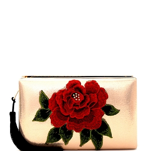 EVXZ0005 Thread Tassel Flower Patch Zip-Around Satin Hard Case Hand Clutch R.Gold