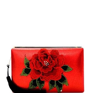 EVXZ0005 Thread Tassel Flower Patch Zip-Around Satin Hard Case Hand Clutch Red