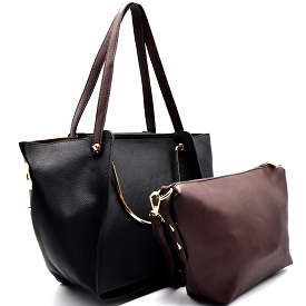 F0153 Handle Accent Two-Tone 2 in 1 Tote Black
