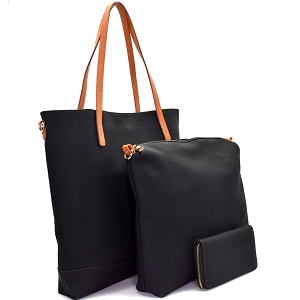 [S]F0191 Two-Tone Textured 3 in 1 Tote SET Black