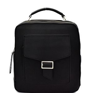 F0192 Multi-Pocket Textured Boxy Fashion Backpack Black
