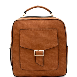 F0192 Multi-Pocket Textured Boxy Fashion Backpack Brown