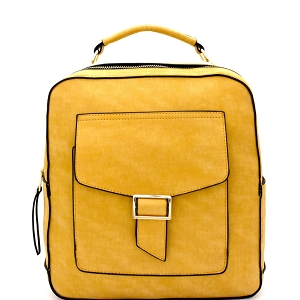 F0192 Multi-Pocket Textured Boxy Fashion Backpack Mustard